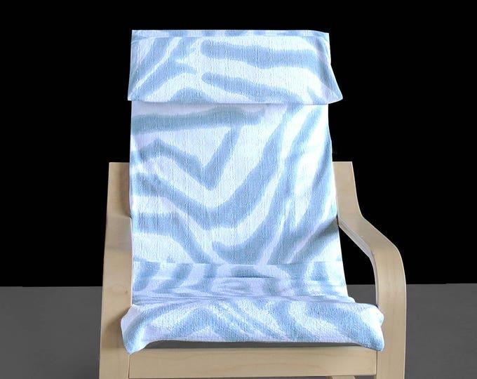 Blue Zebra Animal Print IKEA KIDS POÄNG Cushion Slipcover
