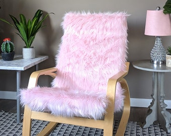 Pink Fur IKEA Poang Chair Cover, Blush Faux Fur IKEA POÄNG Cushion Slipcover