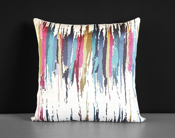 "Colorful Embroidered Metallic Gold Pillow Cover 18"" x 18"""