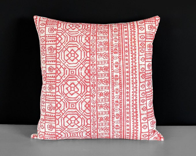 Coral Pink Mexican Style Pillow Cover