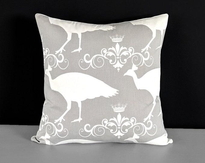 Peacock Gray Toss Pillow Cover