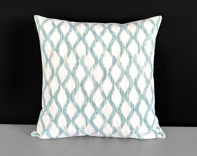 Indian Teal Blue Ikat Print Pillow Cover