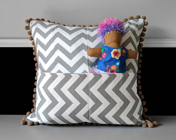Secret Pocket, Brown Grey Chevron Pom Pom Pillow Cover
