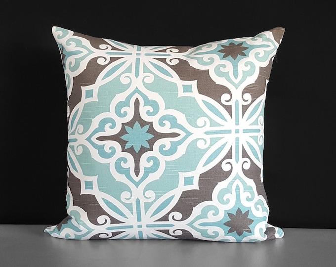 "Blue Moroccan Tile Print Pillow Cover, 18"""