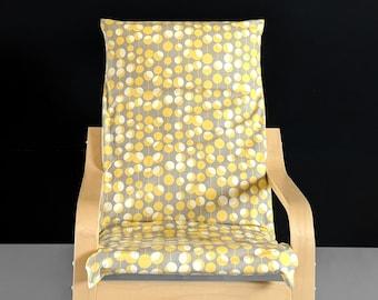 Yellow Grey Retro Ikea KIDS POÄNG Cushion Slipcover