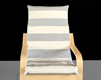 Gray, Beige, Canopy Stripe Ikea Kids Poang Chair Cover