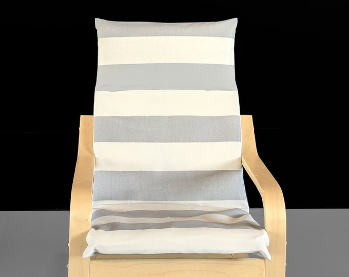 Gray, Beige, Canopy Stripe Ikea Kids Poang Chair Cover