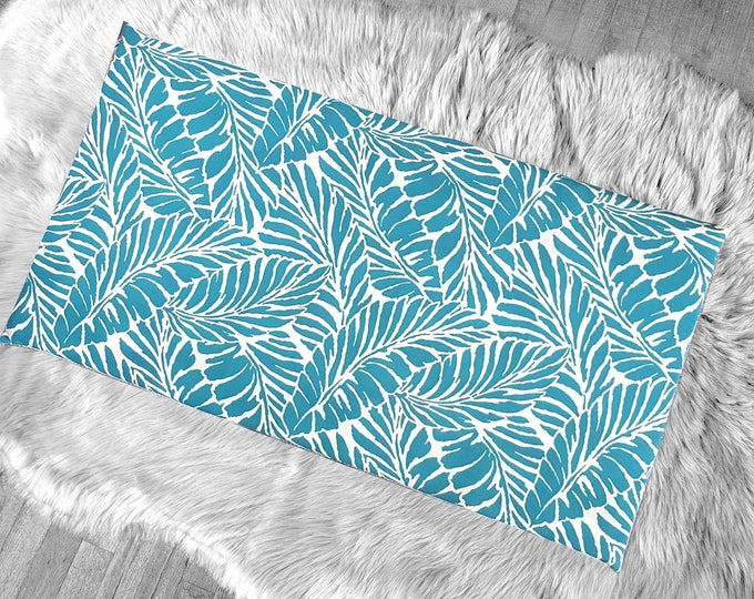 Carribbean Tropical Blue Palm Leaves Slip Cover for IKEA HEMMAHOS Bench Pad