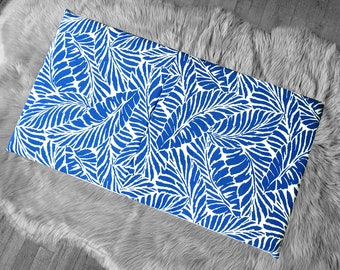 Tropical Blue Palm Leaves Slip Cover for IKEA HEMMAHOS Bench Pad