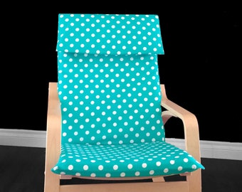 Turquoise Blue Polka Dot Poang Chair Cover