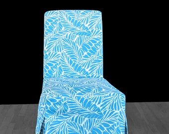 Turquoise Blue Palm Leaves IKEA HENRIKSDAL Custom Dining Chair Cover