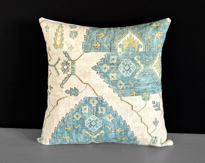 Bohemian Blue Throw Pillow Cover