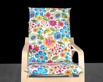 Multicolor Floral Poang Chair Cover, Flowers Ikea Seat Cover, Spring Ikea Cushion Cover