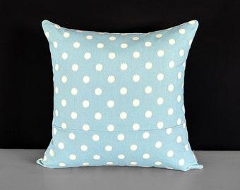 Ikat Pastel Blue Dots Pillow Cover