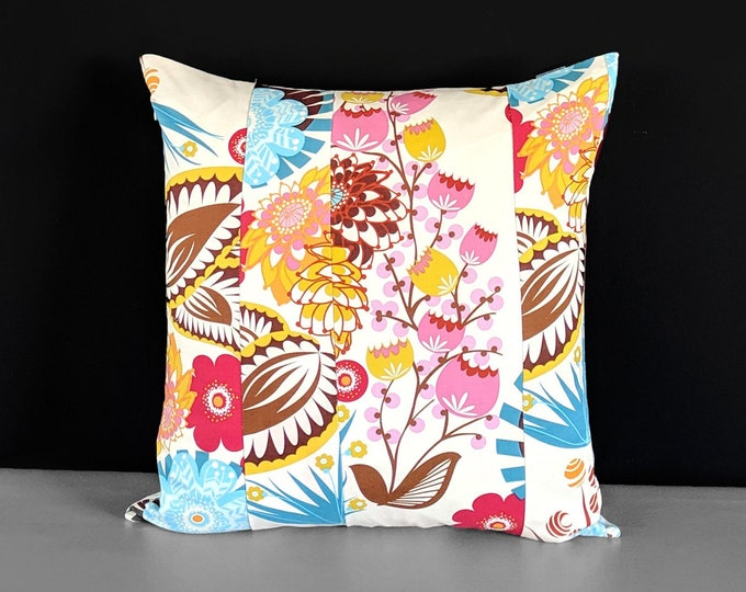 Colorful Patchwork Floral Summer Pillow Cover