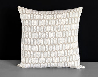 """Beige Small Feathers Pillow Cover 18"""" x 18"""""""