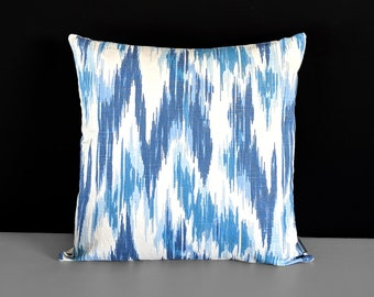 Blue White Ikat Pillow Cover
