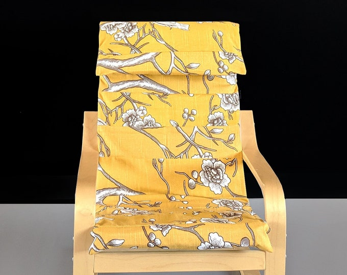 SALE Patchwork Yellow Flower Print Children's Ikea Poang Chair Cover, Yellow Nursery Room Decor, Ready to Ship