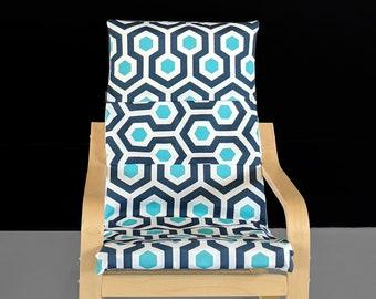 Blue Hexagon, IKEA KIDS POÄNG Cushion Slipcover, Ready to Ship