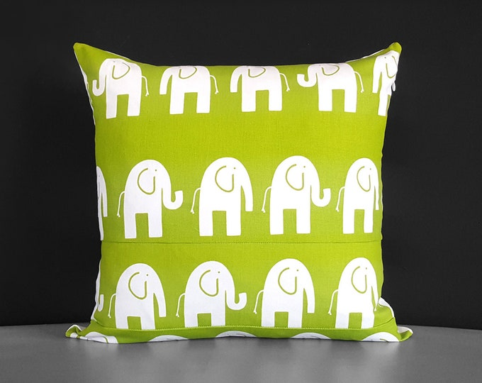 "Green Elephants Pillow Cover 18"" x 18"""