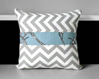 Grey Chevron, Blue Floral Pillow Cover