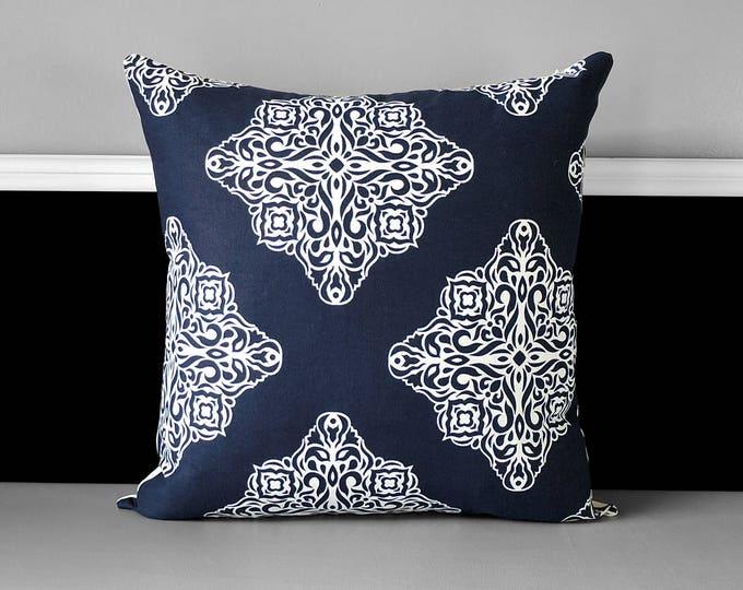 Navy Blue Diamond Print Pillow Cover