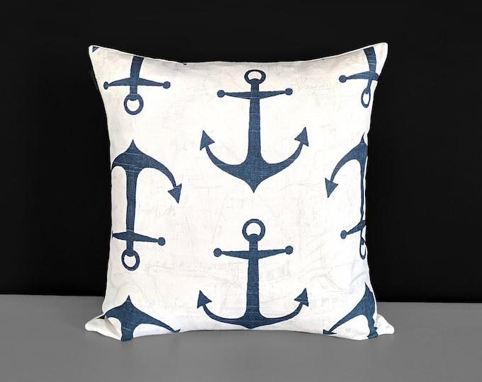 "Nautical Navy Anchors 18"" x 18"""