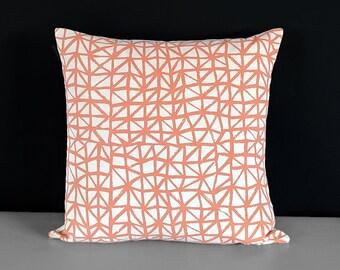 Peachy Orange Triangles Pillow Cover