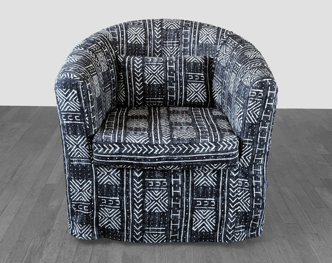 African Mud Cloth Print, Custom IKEA TULLSTA Chair Slip Cover