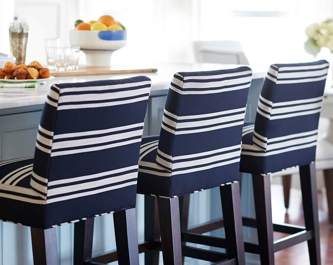 Featured listing image: SUNBRELLA Navy White Stripes, IKEA HENRIKSDAL Bar Stool Chair Covers, Hampton Indigo Blue