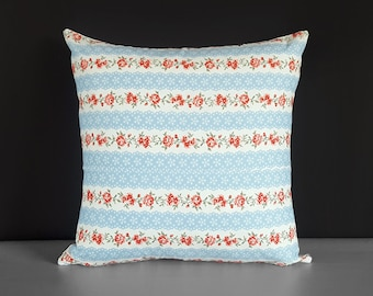"""Traditional Red Roses Flowers Floral Pillow Cover 18"""" x 18"""", Ready to Ship"""