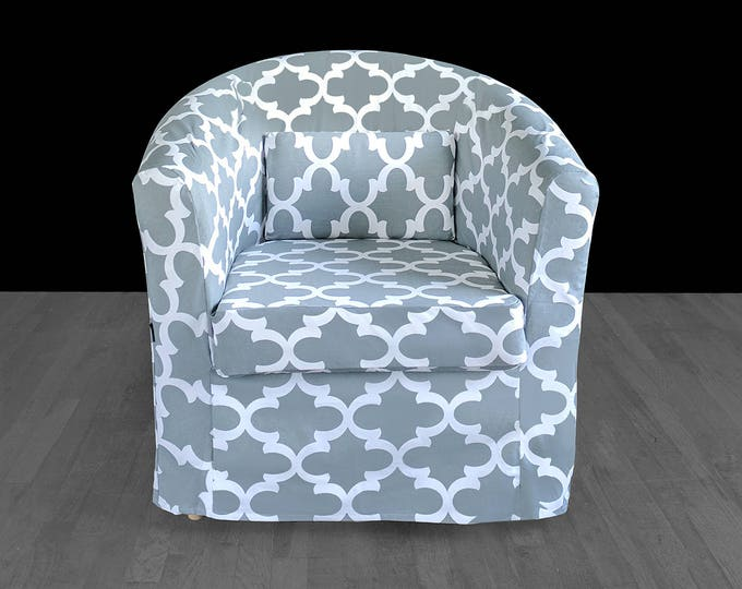 Custom Gray Patterned IKEA TULLSTA Chair Slip Cover