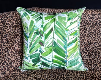 Tropical Pillow Cover, Green Jungle Leaves