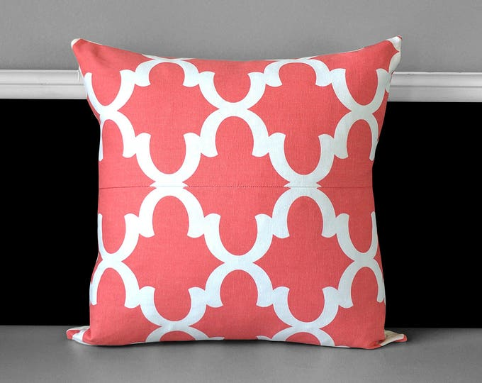 Coral Pink Moroccan Print Pillow Cover