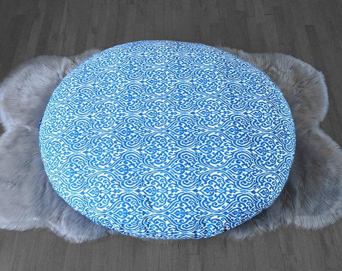 Indigo Blue Indian Print, Custom Dihult Slipcover, Customized Ikea Floor Pillow Covers, Ikea Dihult Covers