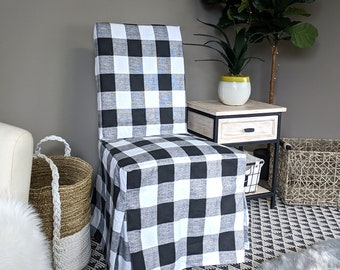 IKEA Dining Chair Cover, Plaid Buffalo Check Black White ,Traditional Style Henriksdal Slipcover