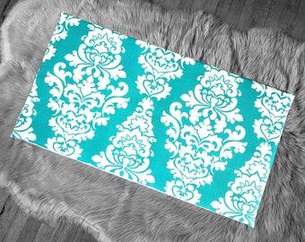 Damask Print Turquoise Blue IKEA HEMMAHOS Bench Pad Slip Cover