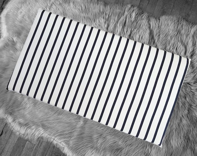Sunbrella Outdoor Indigo Navy Stripe, IKEA STUVA Bench Pad Slip Cover