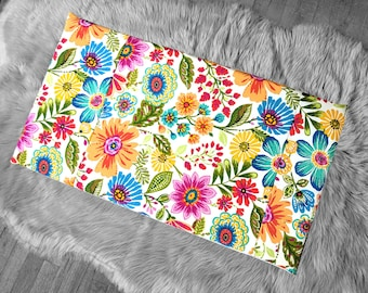 Colorful Spring Flowers IKEA VISSLA Bench Pad Slip Cover, Floral Summer
