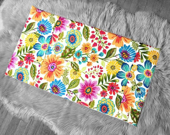 Colorful Spring Flowers IKEA VISSLA Bench Pad Slip Cover, Floral Summer