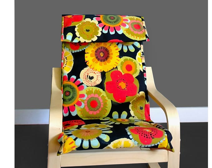 Girls Flowers Ikea Poang Chair Cover, Girls Floral Print Ikea Poang Seat Cover