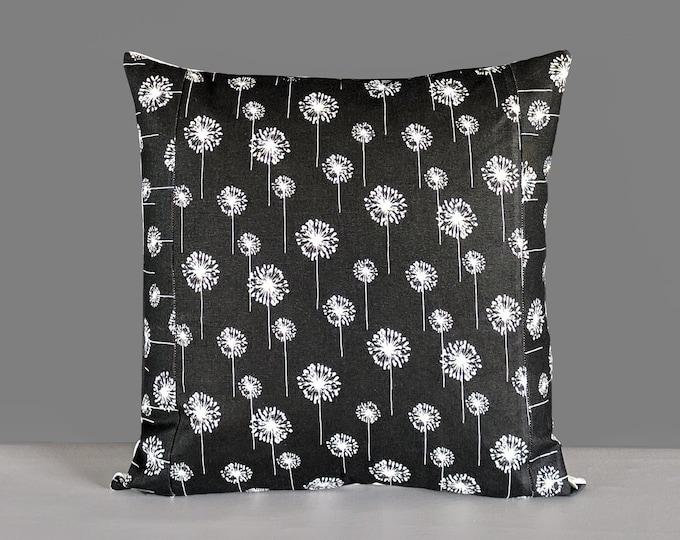 Black Dandelion White Flowers, Pillow Cover