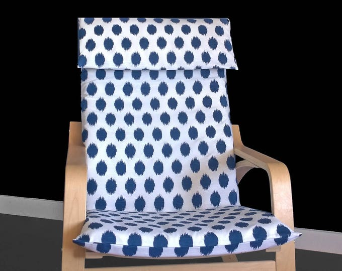 Navy Polka Dot Poang Seat Cover