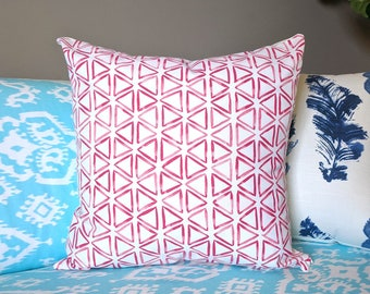 Red Triangles Pillow Cover