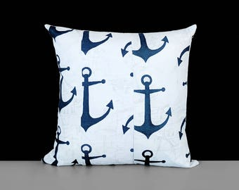 Navy Blue Anchors Pillow Cover
