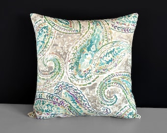 Green Paisley Pillow Cover