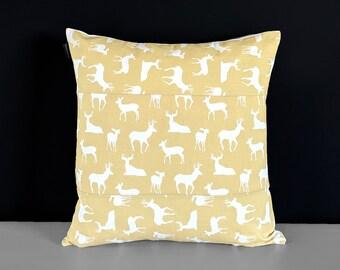 Pillow Cover, Deer Silhouette Saffron Yellow