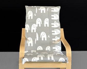 Patchwork Elephant Print IKEA Kids POÄNG Cushion Slip Cover