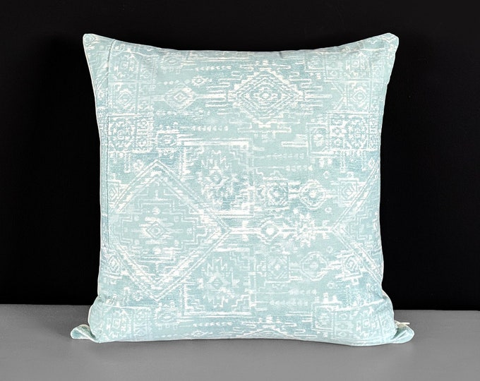 Light Blue Indian Sioux Style Pillow Cover