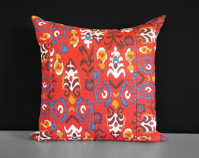 "Red Indian Pillow Cover, 18"" x 18"""